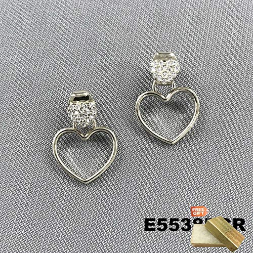 Silver Tone Double Heart Shaped Peekaboo Style Double Sided Stud Post Earrings For Women Set + Gold Cotton Filled Gift Box