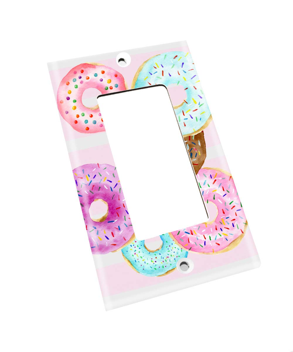 Pink Donuts Sprinkles Confetti Bakery Pink purple Aqua Girls Nursery Bedroom Single Light Switch Cover LS0105 single decora