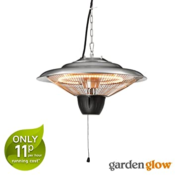 hanging patio heater. Garden Glow 1500W Ceiling Mounted Hanging Halogen Patio Heater 2 Power Settings Outdoor Use ( A