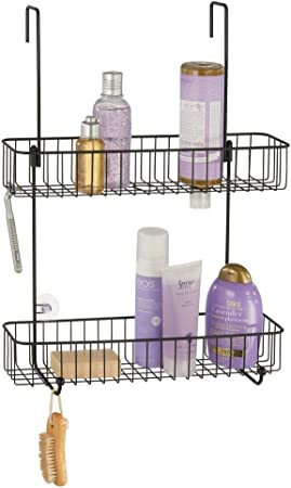 mDesign Estantería para baño en metal anticorrosivo – Estanterías metálicas con 2 cestas de ducha para colgar