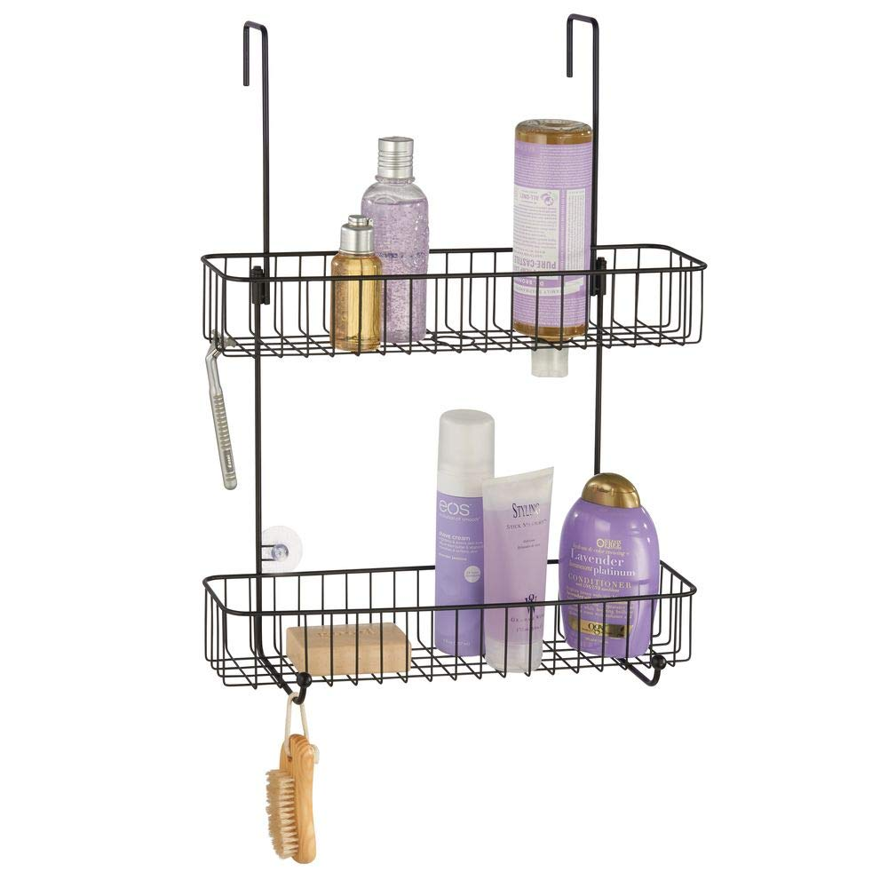 mDesign Bathroom Over Door Wide Shower Caddy for Shampoo, Soap, Loofahs - 2 Tier, Matte Black MetroDecor 8788MDBST