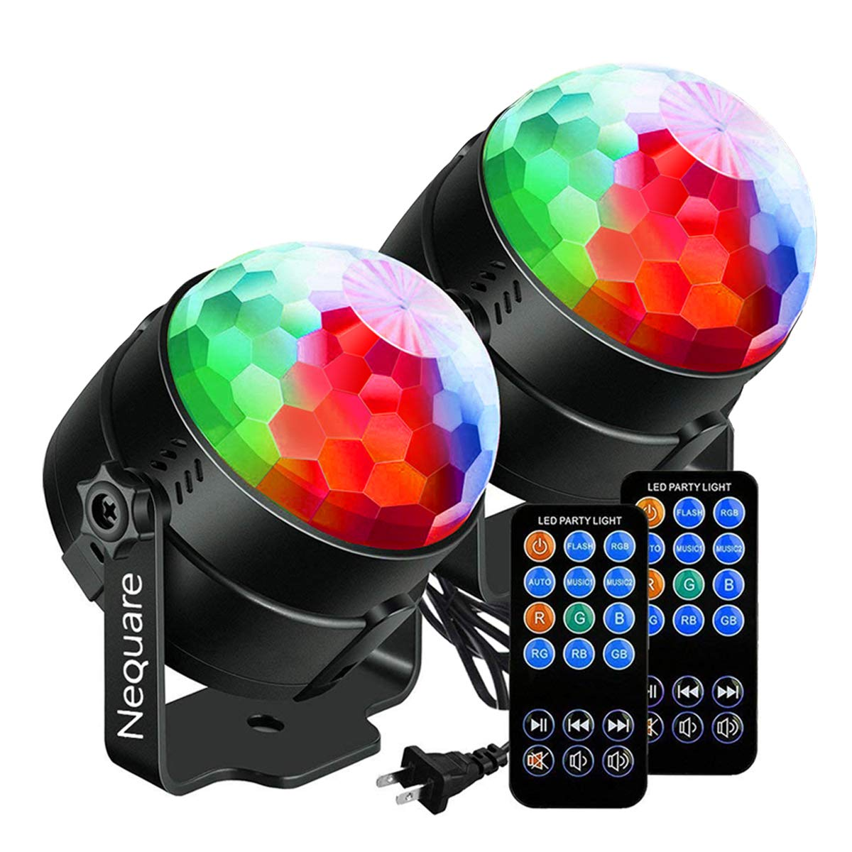 NEQUARE [2-Pack] Party Lights Sound Activated Disco Ball Strobe Light 7 Lighting Color Disco Lights with Remote Control for Bar Club Party DJ Karaoke Xmas Wedding Show and Outdoor