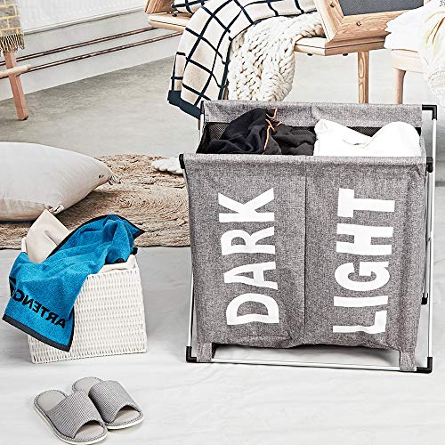 HOMEST Large 2 Section Laundry Hamper Sorter Basket with X-Frame 25.5''×23''H Washing Storage Dirty Clothes Bag for Bathroom Bedroom Home College Use, Grey by HOMEST (Image #2)