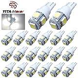 YITAMOTOR 20 PCS T10 Wedge 5-SMD 5050 White LED Light bulbs W5W 2825 158 192 168 194