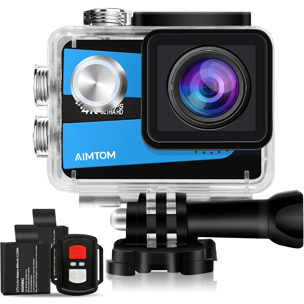 AIMTOM Sports Camera 4K Ultra HD 98FT Waterproof WiFi Action Video Cam 2 Inch LCD Screen 16MP Sony Sensor, 170 Degree Wide Angle with Remote Control 2 Rechargeable Batteries SPC-NS-7BU