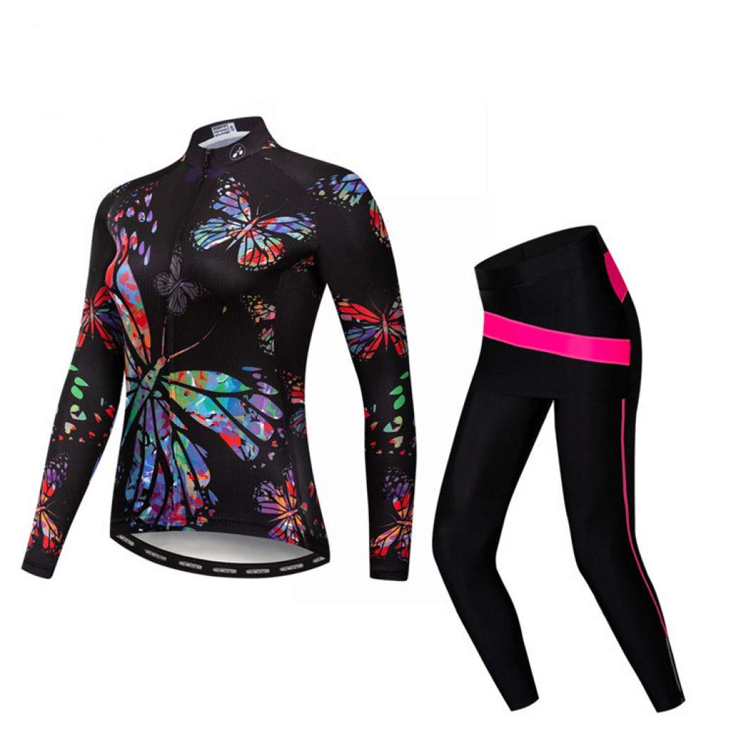 5 Small Women Cycling Jersey Suit Long Sleeve Jersey and Pants for Road Bike Mountain Riding