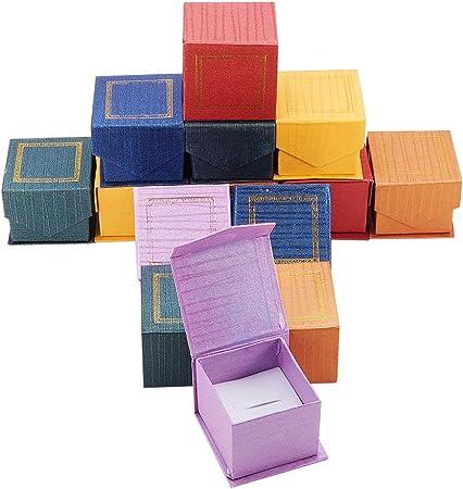 NBEADS 24 Cajas Magnéticas de Cartón para Joyas, para Anillos, Cuadrados, Colores Mezclados, 5,5 X 5,5 X 4,5 Cm: Amazon.es: Hogar