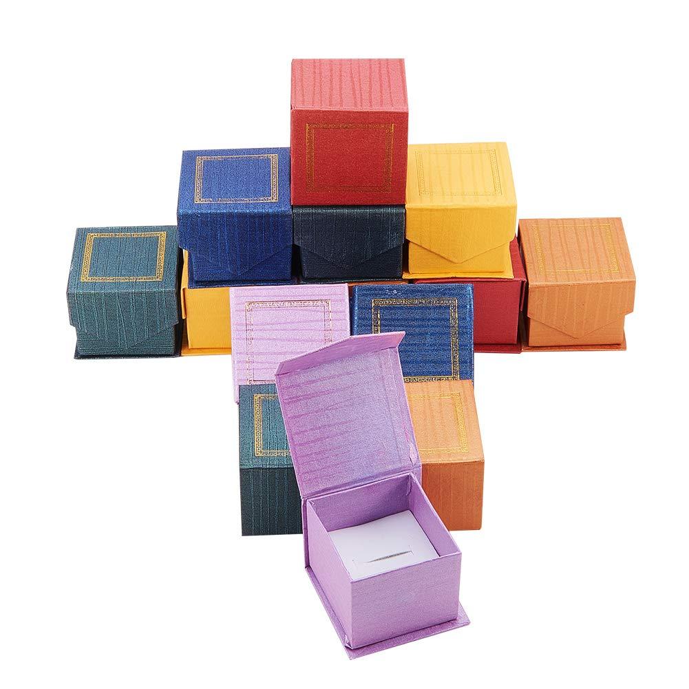 NBEADS 24PCS magnetico in cartone portagioie, per anelli, quadrato, colore misto, 5.5 x 5.5 x 4.5 cm 5.5x 5.5x 4.5cm