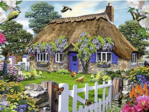 (WOWDECOR Paint by Numbers Kits for Adults Kids, Number Painting - Cottage Flower Chicken Farm 16x20 inch (Framed) )