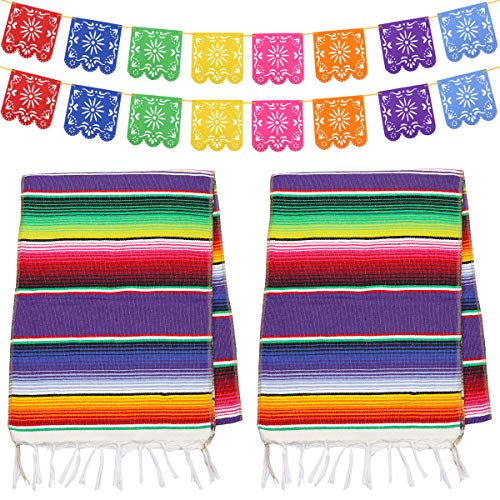 Dreamtop 2pcs 14 x 84 inch Mexican Table Runner Mexican Serape Blanket Cotton Colorful Fringe Table Runners with 8 Colors 16pcs Picado Banners Fiesta Banners for Mexican Party Wedding Kitchen Outdoor -