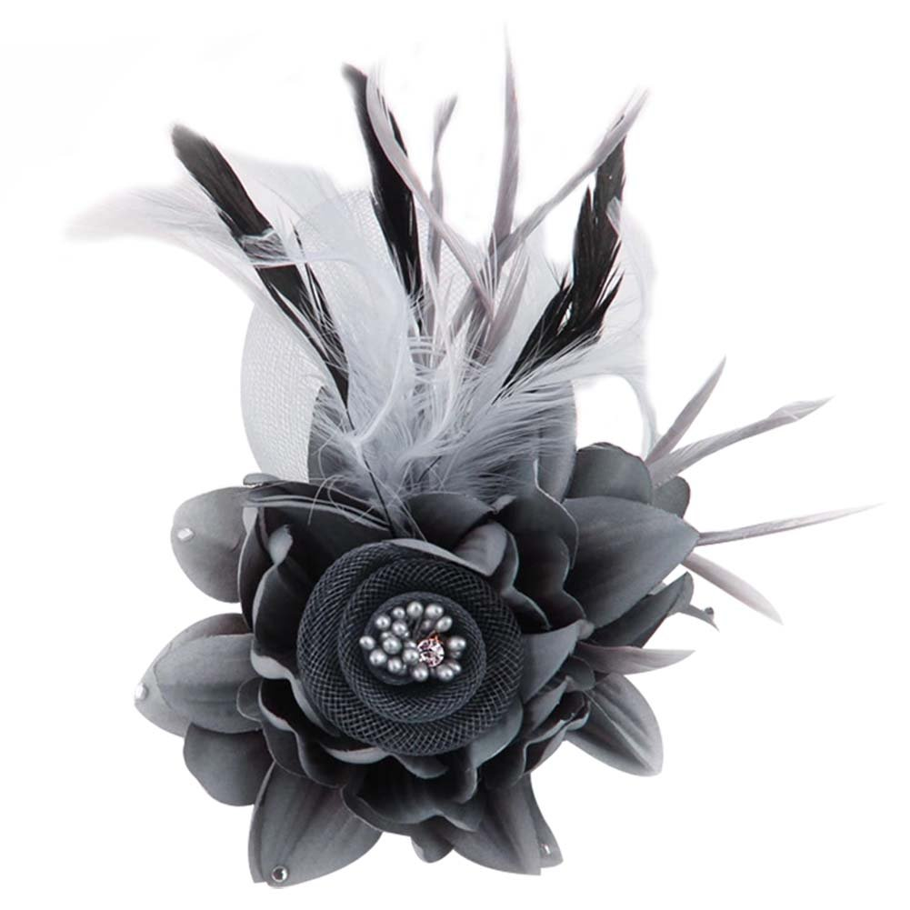 ACTLATI Charming Mesh Feather Hair Clip Women Girls Hairpin Cocktail Party Flower Barrette Fascinator Hat Grey