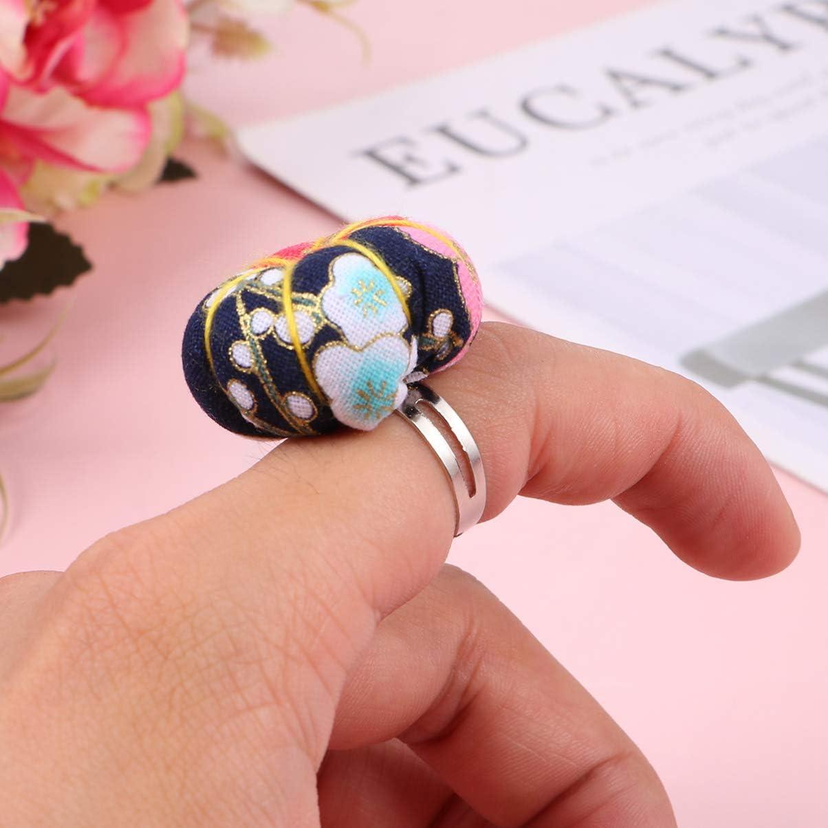 EXCEART 3-Teilige Ringnadelkissen Verstellbare Blumenquilterinnen Und Handwerker-Finger-Nadelkissen-Kreuzstich-N/ähzubeh/ör Zuf/ällige Farbe