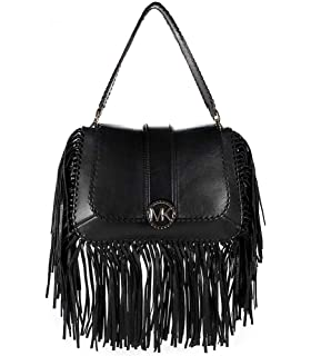 32d57fe61db3a0 MICHAEL Michael Kors Women's Lillie Medium Fringed Leather Bag Black