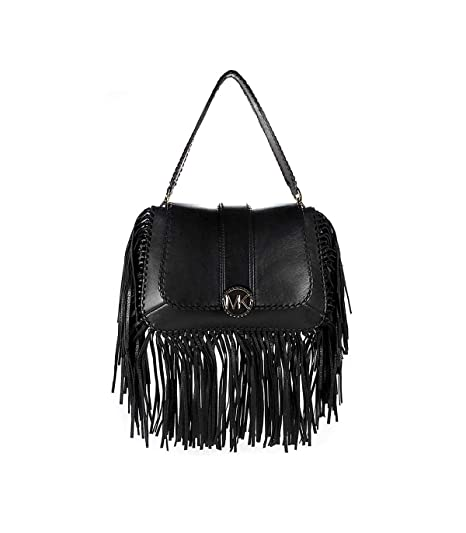 4bd7d3ec5853 MICHAEL Michael Kors Women's Lillie Medium Fringed Leather Bag One Size  Black: Amazon.co.uk: Clothing