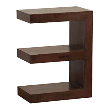 Homescapes   Dakota   E Shaped End/Side Table   Dark   100% Solid