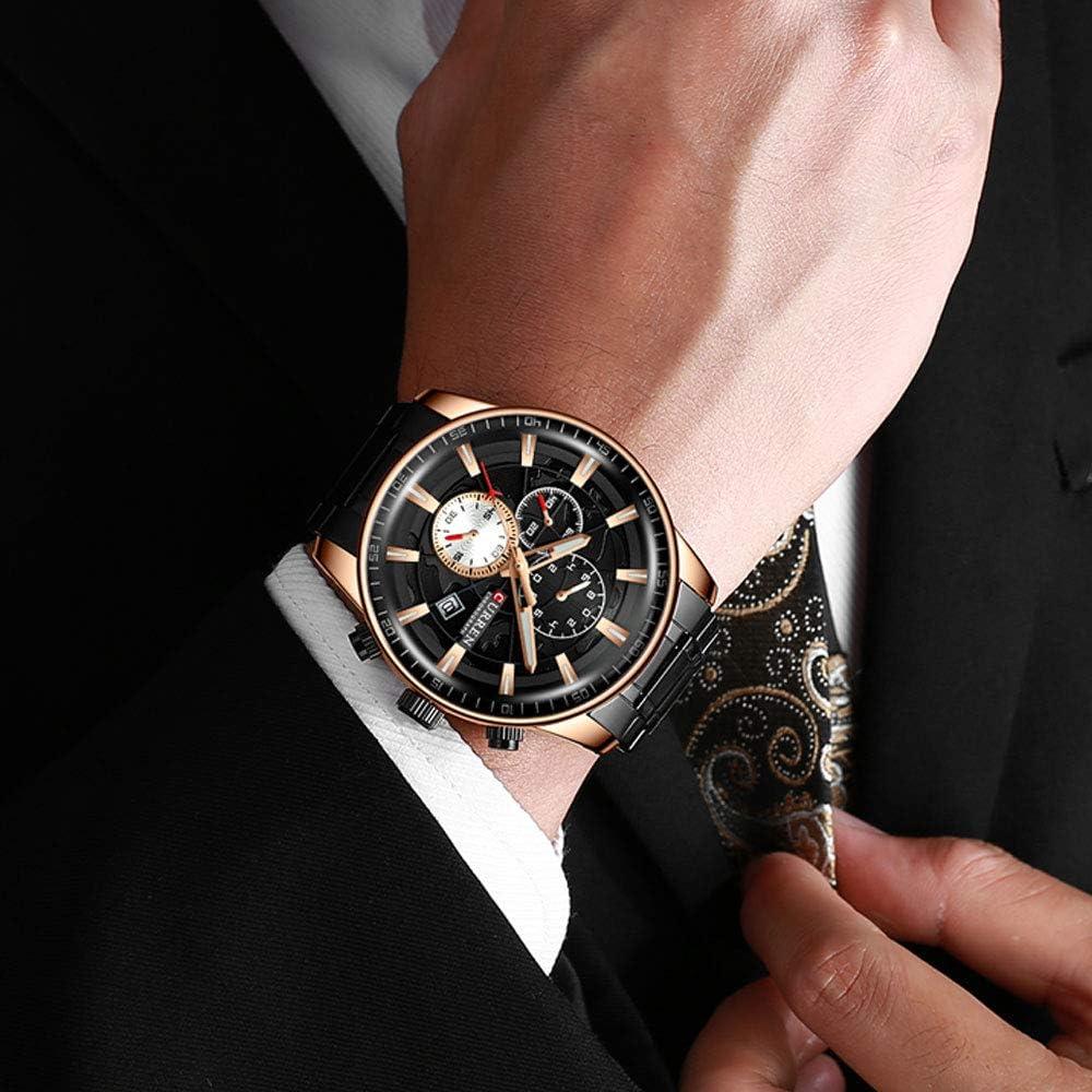 Hommes Montres Mâle Nouvelle Mode En Acier Inoxydable Top Marque De Luxe Multi-fonction Chronographe Quartz Montre-Bracelet Masculino Reloj Hombre Nero