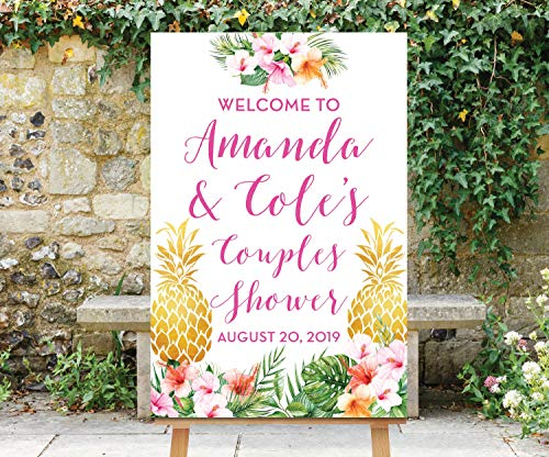 Couples Shower Welcome Sign Tropical Shower Hawaiian Luau Gold Pineapple Baby Shower Welcome Digital File Printable Floral Aloha -