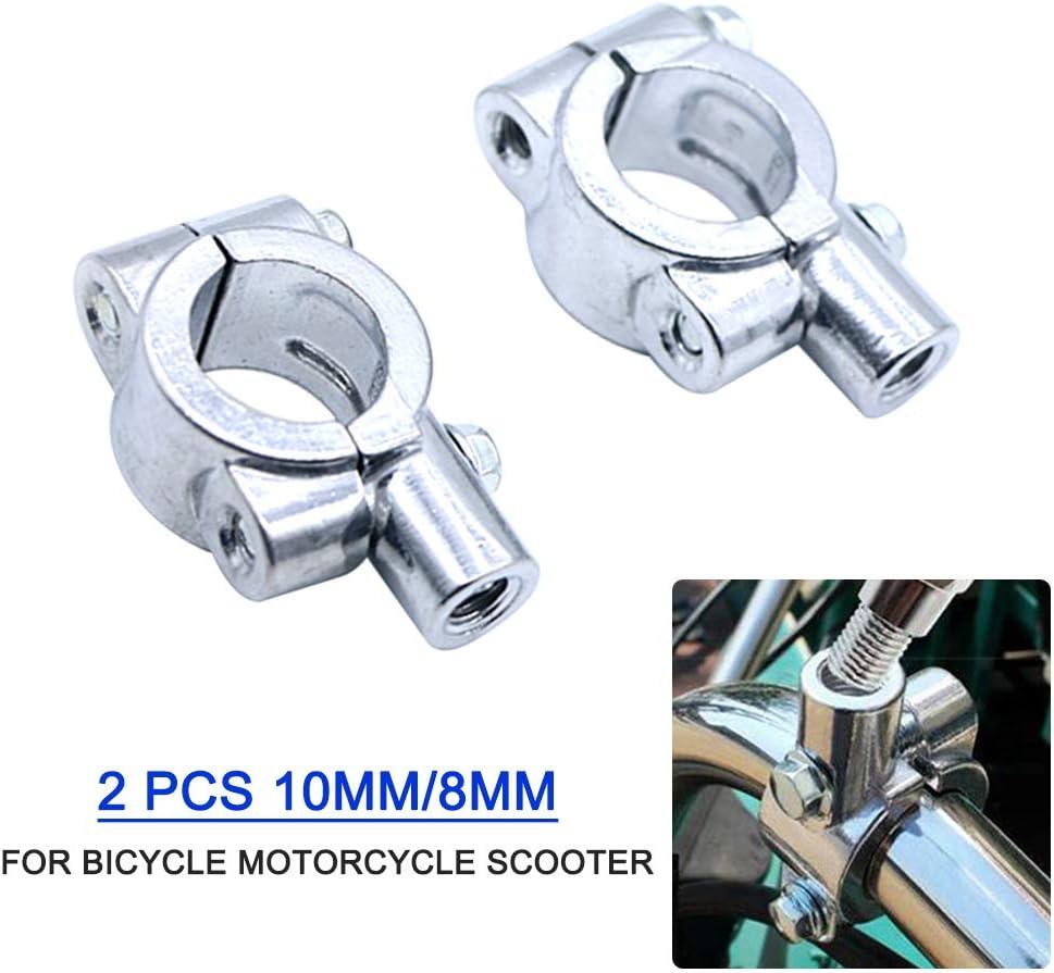 negro//plateado abrazadera de aluminio soporte de espejo de motocicleta universal para bicicleta motocicleta scooter VISLONE 2 piezas de 10 mm para manillar de bicicleta de motocicleta