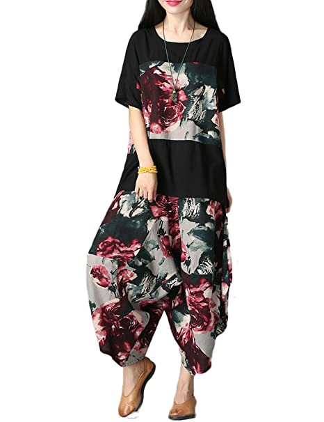 Idopy Camisas Sueltas de Las Mujeres + Pantalones Conjuntos Casuales de la tradición China para Las Mujeres: Amazon.es: Ropa y accesorios