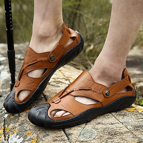 CEKU Men's Closed Toe Outdoor Walking Leather Athletics Waterproof Comfortable Casual Fisherman Sandals Water Shoes Brown 46 by CEKU (Image #6)
