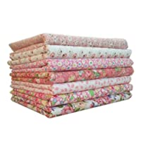 Topker 7pcs / set Tissu en coton pour la couture Quilting Patchwork Home Textile Série rose Tilda Doll Body Cloth