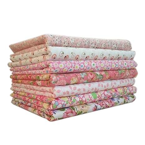Topker 7pcs / Set Tela de algodón para el Tejido de Costura de Costura de remiendos Textil de casa Rosa Serie Tilda paño de Cuerpo de muñeca (Rosado)