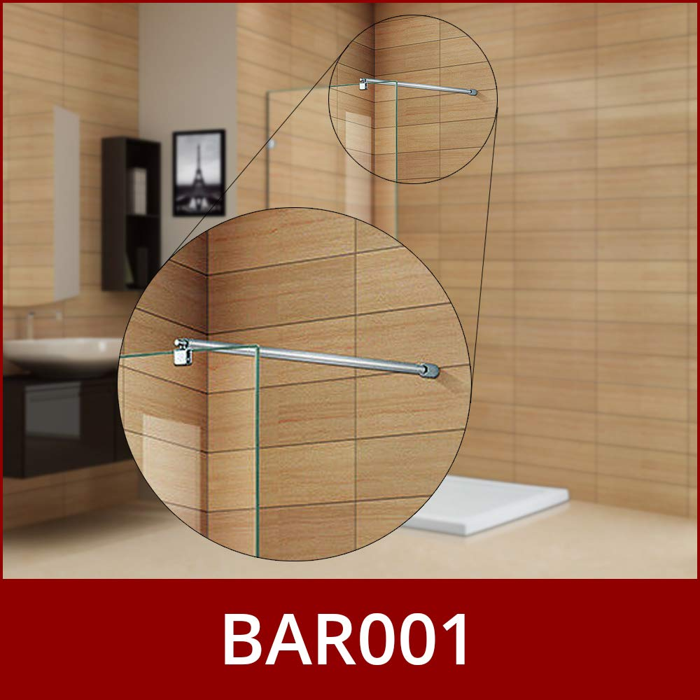 700 to 1200mm Adjustable Telescopic Length BAR001 Fits 6mm Glass Shower Glass Support Bar for Wetrooms or Shower Enclosures Stainless Steel Chrome