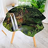 UHOO2018 Polyester Dust-Prooftablecloth-Twin Wailua Waterfalls Kauai Hawai Greenery Forest Grass Nature Scenic View Green for Kitchen Dinning 43.5'' Round