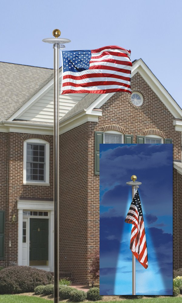 American Flag and Flagpole Set - 20 ft. Aluminum 5-section In-Ground Flagpole and US Flag 3x5 ft. SolarGuard Nylon by Annin Flagmakers, Anthem Kit Model 742371 by Annin Flagmakers (Image #2)