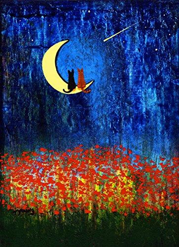 Black Tabby Cat - Black Cat Orange Tabby Cat Folk art PRINT by Todd Young STAR GAZING