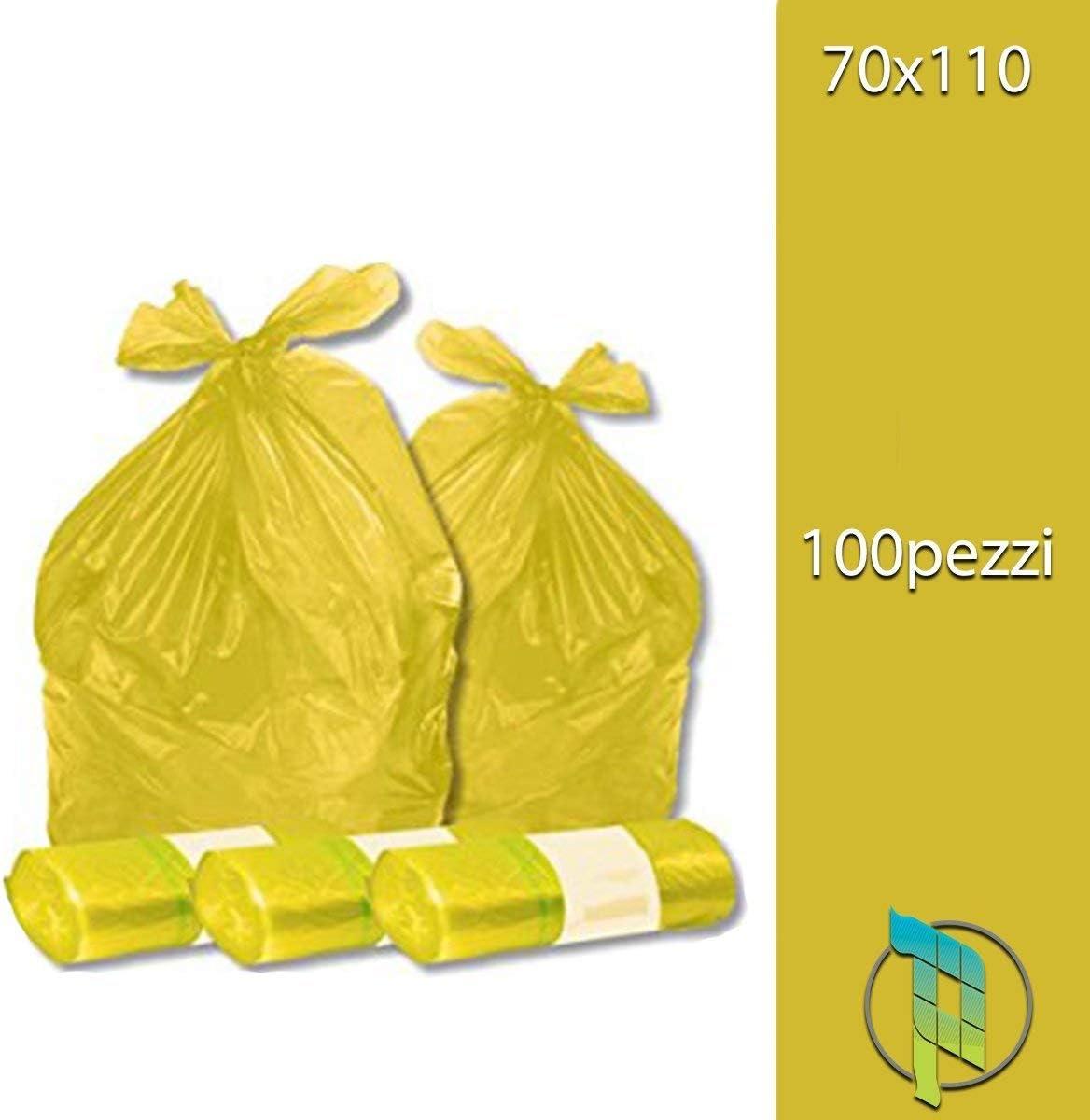 Palucart 100 pieces yellow bin bags garbage bags 70 x 110