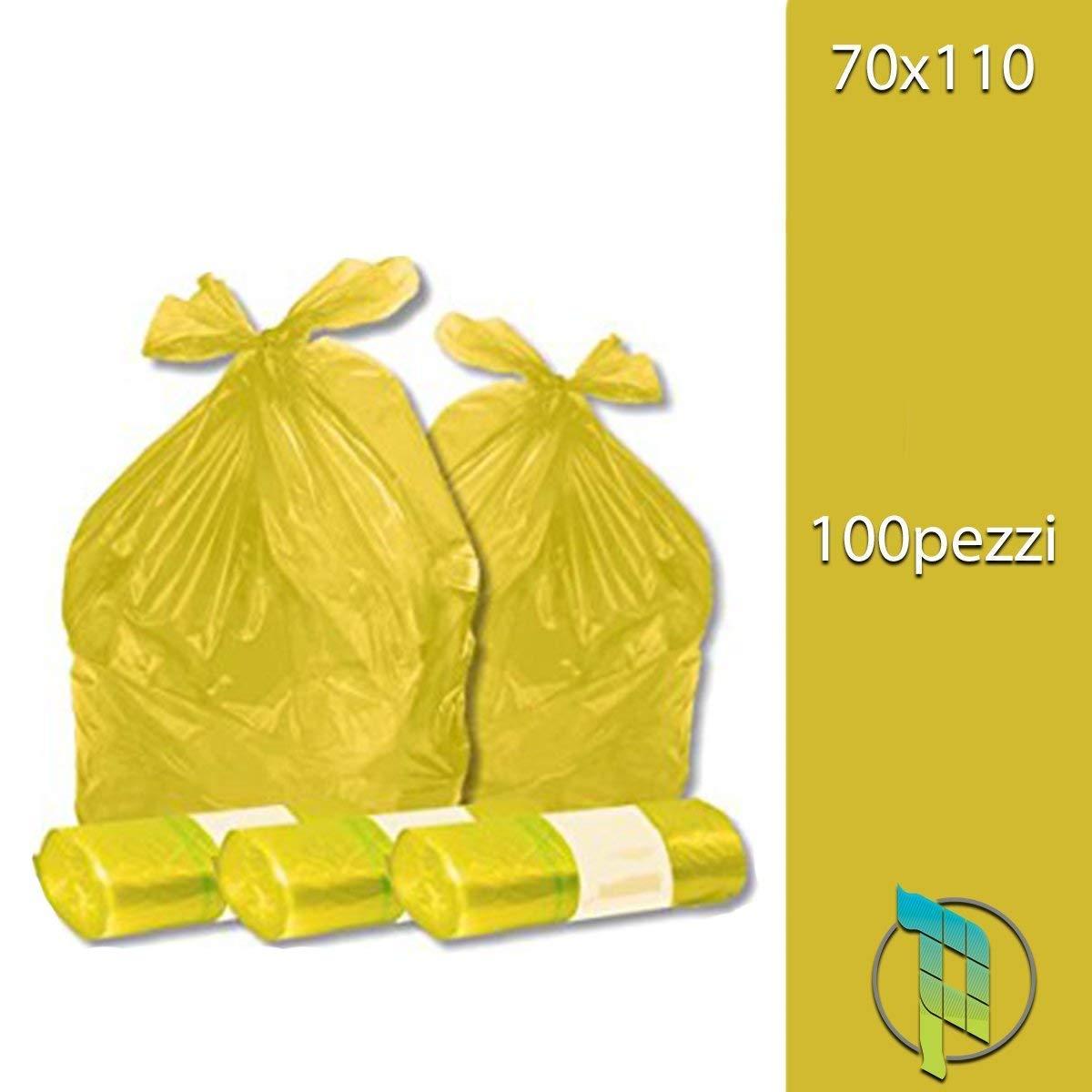 Palucart Sacchi spazzatura colore giallo cm 70x110 110 litri 100 pezzi