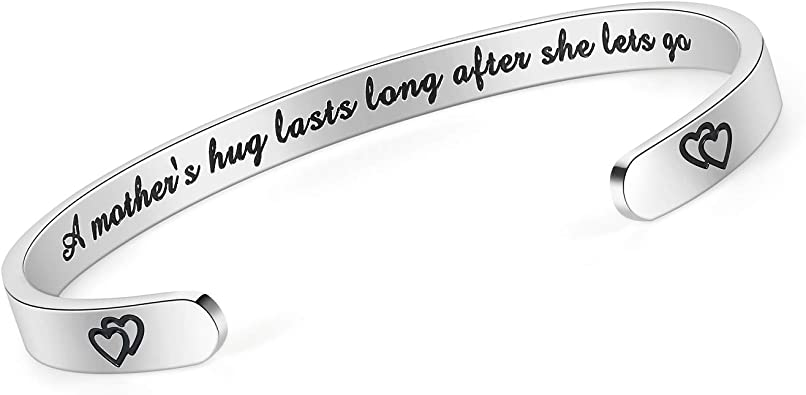 Bracelet Bangle Cuff For Women Inspirational Bracelets Gift Motivational Mantra Quote Positive Saying Engraved Stainless Steel Adjustable Bangle Encouragement Jewelry Men Teen Girls Kids Silver
