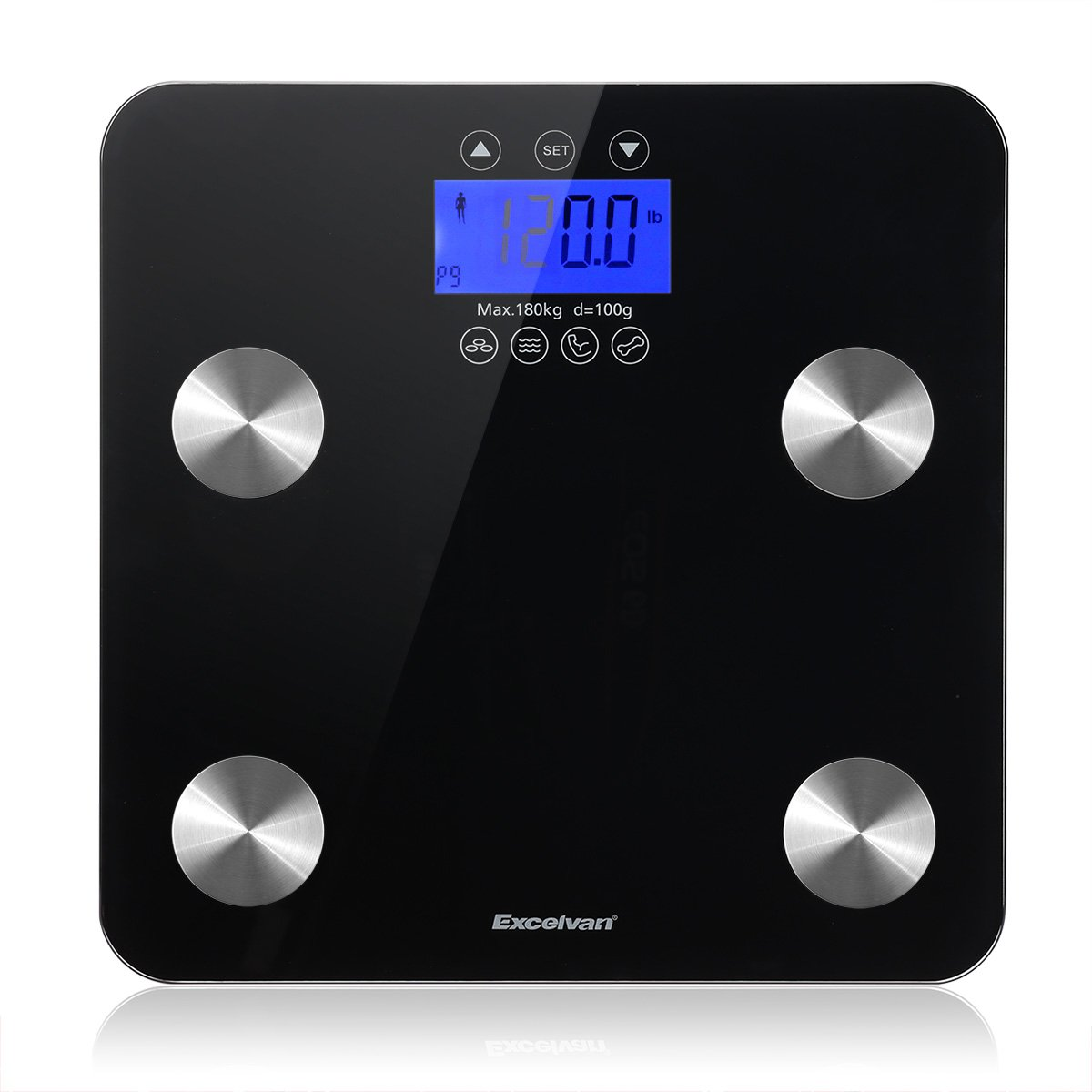 Excelvan Digital Body Fat Weight Scale, Body Composition AnalyzerHealth Monitor with Large Backlit Display, 7 AccurateHealthMetrics Measurements, Black