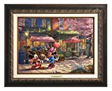Thomas Kinkade Disney Mickey and Minnie Sweetheart Cafe 9'' x 12'' Canvas Classic (Aged Bronze)