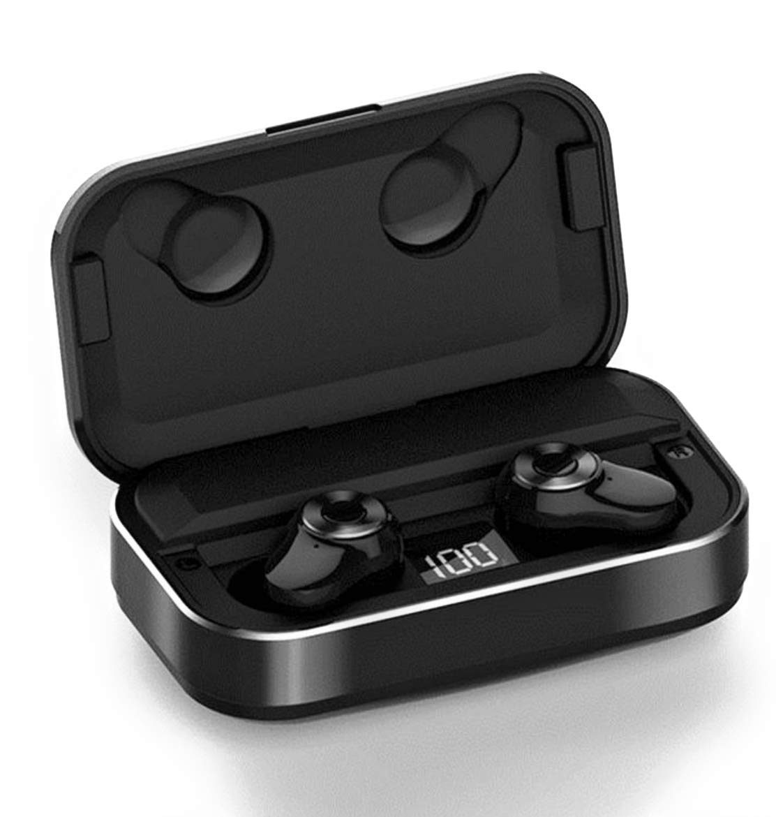 Bluetooth Earbuds 5.0 Headphones with Digital Intelligence LED Display Charging Case 90H Playtime Stereo Sound Headset IPX7 Waterproof Built-in Mic for Driving/Work/Sports