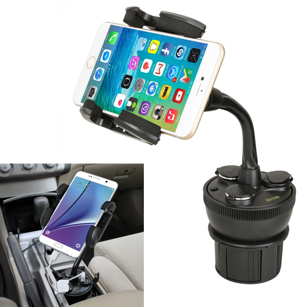 iKross Adjustable Car Vehicle Cup Holder Mount w/ 3 Sockets & 2 USB Charging Port 2.1A + Car Charger for LG Volt 2, Tribute 2, Logos, Escape 2, Lancet, ...