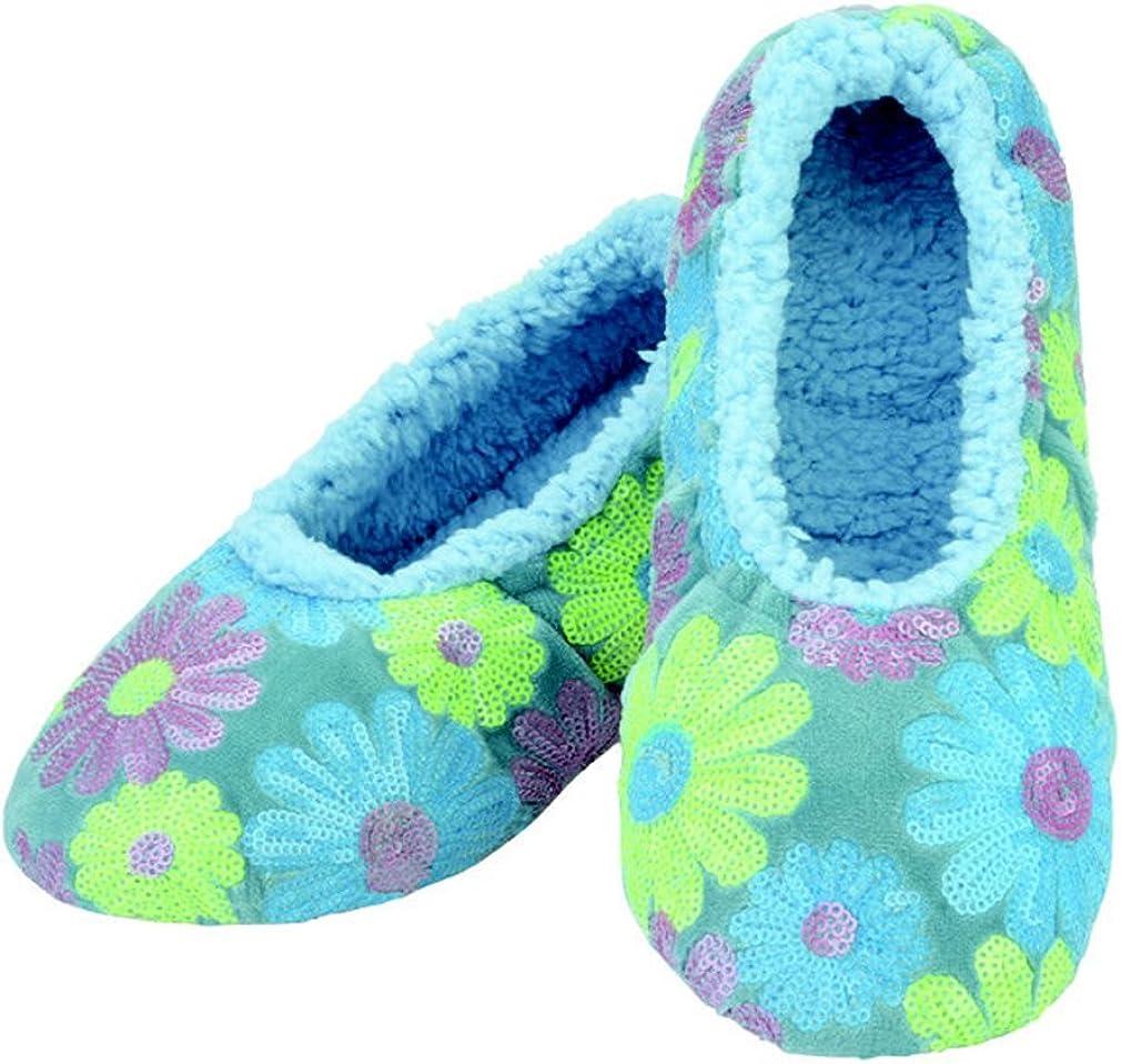 Snoozies Womens Sequin Daisy Ballerina Cozy Sherpa Non Skid Slipper Socks Blue
