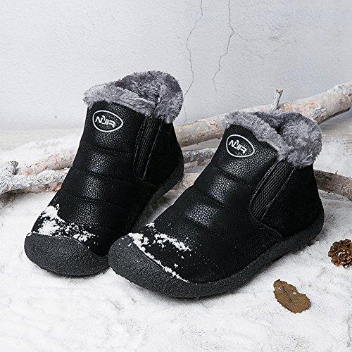 Gomnear Schneestiefel Frauen Männer Wanderschuhe Paar Leicht Unisex Winter Anti-Rutsch Warm Turnschuh Schwarz