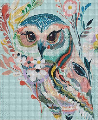 Colorful Owl cross stitch kits, 14ct, Egyptian cotton thread