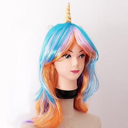 Sharplace Peluca Larga Ondulada Sintético Diseño de Cuerno de Unicornio Accesorio de Traje de Disfraz de