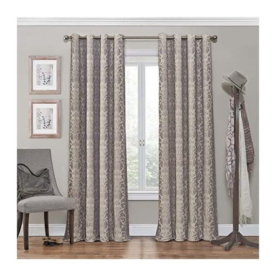 "ECLIPSE Nadya Print Thermal Insulated Single Panel Grommet Top Darkening Curtains for Living Room, 52"" x 84"", Linen - Sold as single panel Blocks 98-99.9% of light compared to ordinary curtains Reduces unwanted noise, and helps to save on home heating and cooling costs - living-room-soft-furnishings, living-room, draperies-curtains-shades - 61tER%2BX4pwL. SS570  -"