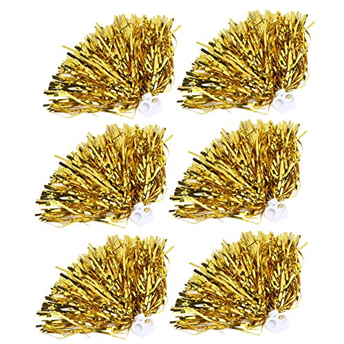 Cheerleader Pom Poms 12pcs Cheerleading Poms Metallic Foil Pom Poms Squad Cheer Sports Party Dance Useful Accessories (Gold)