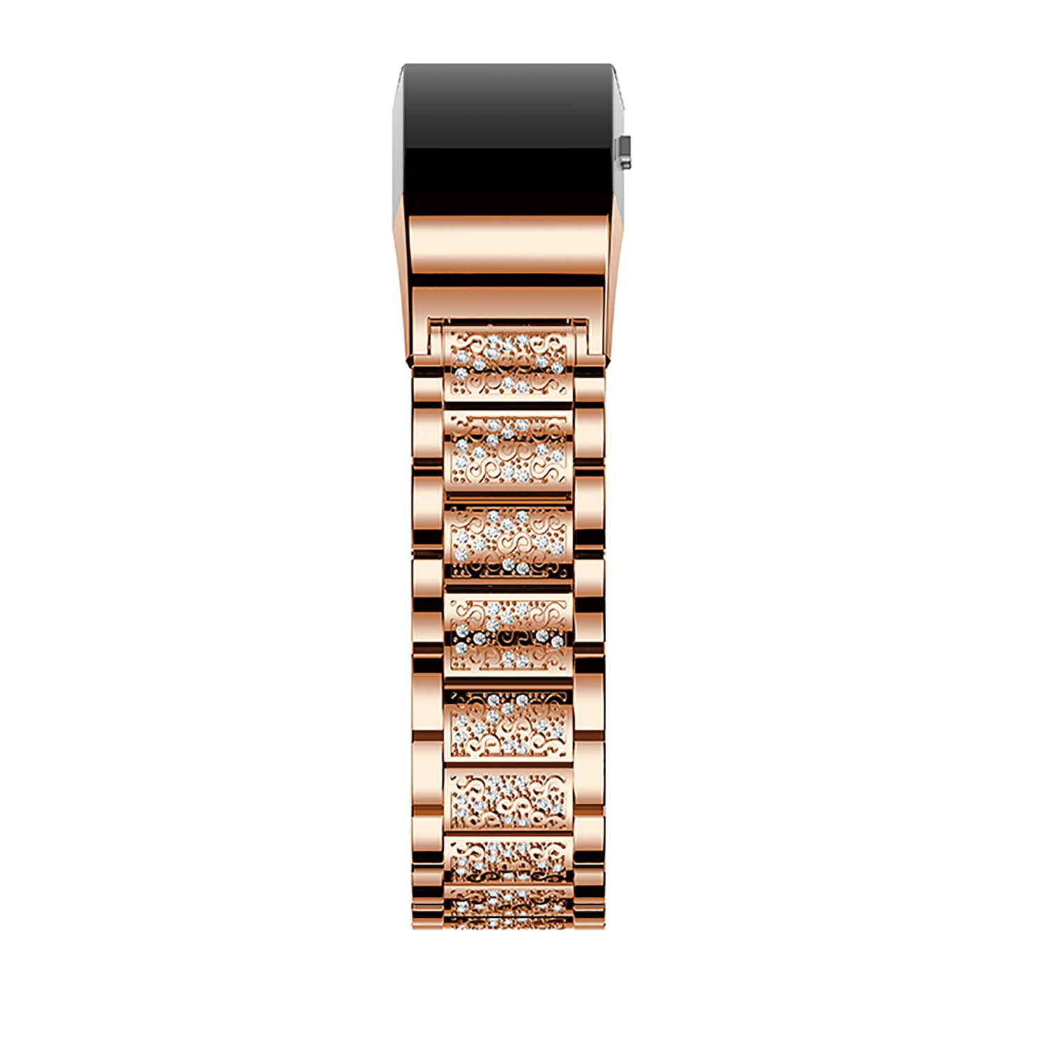 Fitbit Charge 2 Band, iBazal Stainless Steel Watch Band with Crystal Rhinestone Chain Bracelet Replacement Strap for Fitbit Charge 2 - Stylish Rose Gold