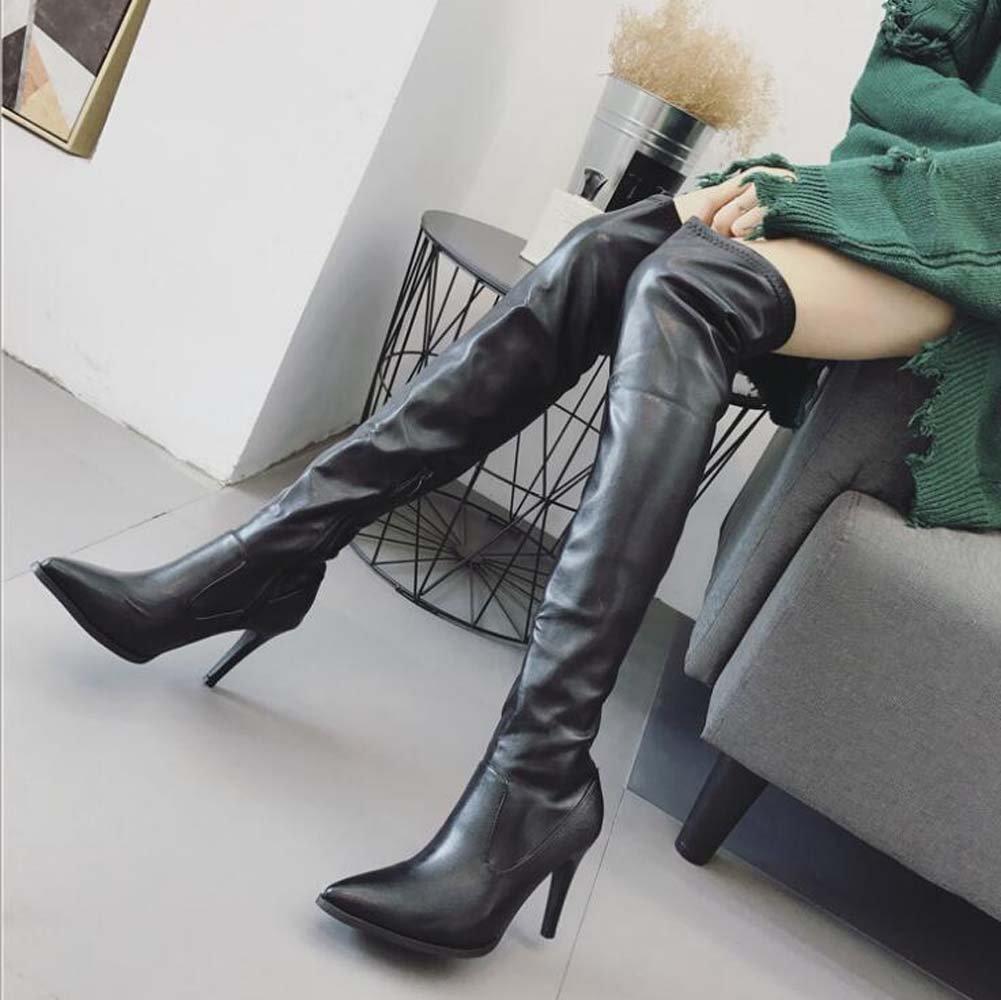Oberschenkel Oberschenkel Oberschenkel hohe Stiefel Stretch Ofenrohr Stiefel Frauen schöne spitz reine Farbe 9cm Stiletto Reißverschluss Kleid Stiefel Ritter Stiefel Eu Größe 34-40 77bcb2