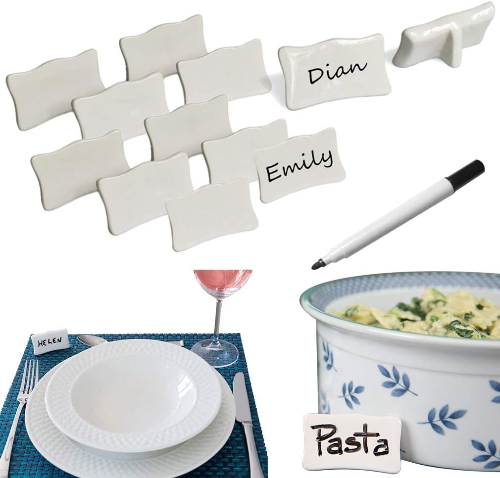 Evelots Place/Name Cards-Porcelain-Reusable-With Marker-Easel Back-13 Piece Set