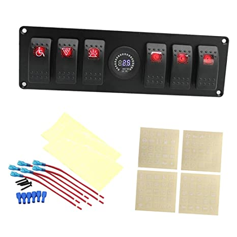 6 Gang RV Car Marine Boat Circuit LED Red Rocker Switch Panel Breaker+Voltmeter