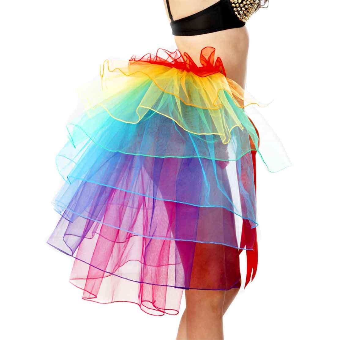 Women's Rainbow Wave Wig Long Gloves Socks 8Layered Tail Tutu Skirt Floral Headband Set (B) by ECOSCO (Image #3)