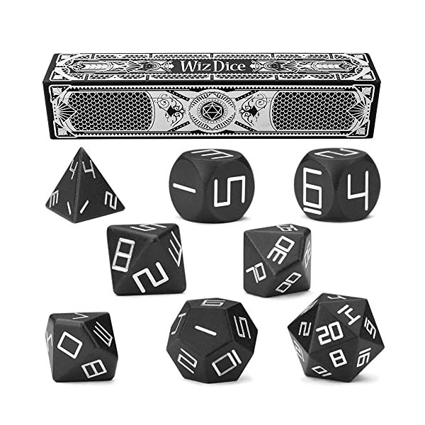 Wiz Dice Set of 8 Masterwork Precision Aluminum Polyhedrals with Laser-Etched Strongbox Choose from 8 Anodized Colors (Obsidian) 3