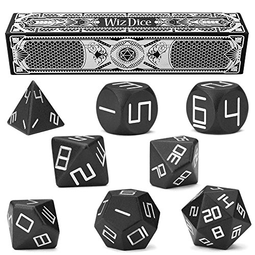 - Set of 8 Masterwork Precision Aluminum Polyhedrals with Laser-Etched Strongbox by Wiz Dice - Choose from 8 Anodized Colors (Obsidian)